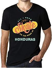 Hombre Camiseta Vintage Cuello V T-Shirt Gráfico On The Road of Honduras Negro Profundo