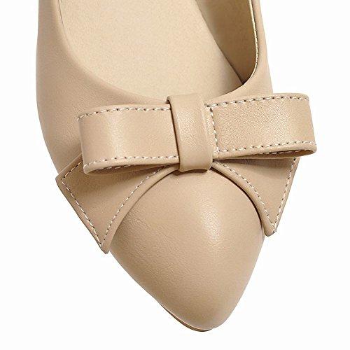 Mee Shoes Damen bequem Niedrig Schleife Pumps Aprikose