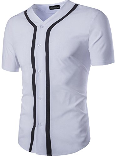 jeansian Herren Freizeit Hemden Shirt Tops Mode Kurze ?rmel Shirt Slim Fit 84G3 White