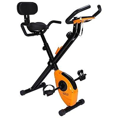 Charles Bentley Indoor Exercise Bike Home Workout Machine Cardio Fitness 2.5kg Flywheel Adjustable Seat Height and Handlebars - Black & Orange by Charles Bentley