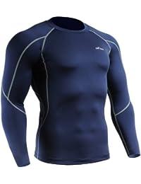 emFraa Homme Femme Sport Running Compression Navy Base layer Tee-Shirt Long sleeve S~XXL