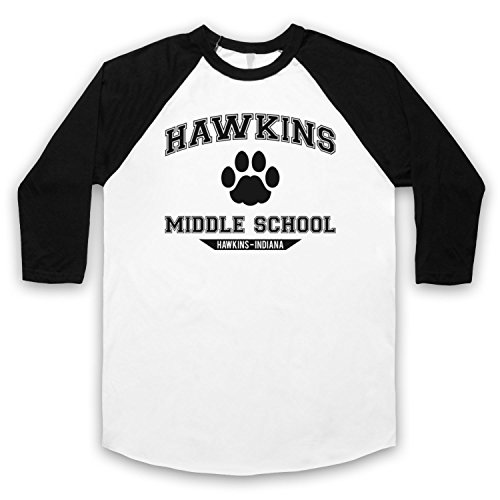 Inspiriert durch Stranger Things Hawkins Middle School Paw Logo Inoffiziell 3/4 Hulse Retro Baseball T-Shirt Weis & Schwarz