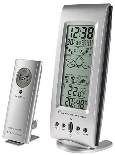 Zeit-Bar Funkwetterstation/Funkuhr mit Vorhersage, Luftfeuchtigkeit + Luftdruck