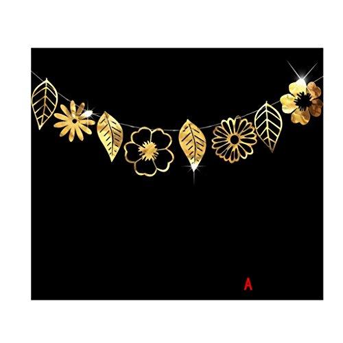 KAIMENG Glitter Hohl Design Blume Blätter Bunting Banner Fahnen Hängende Garland Party Favors Lieferungen Dekoration (Typ A, Gold)