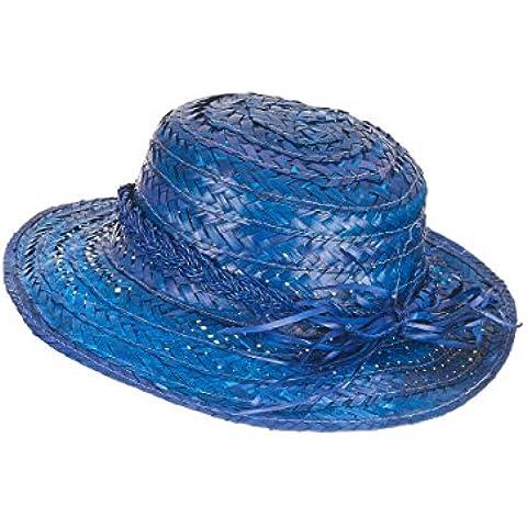 Sombrero de paja vintage azul mujer