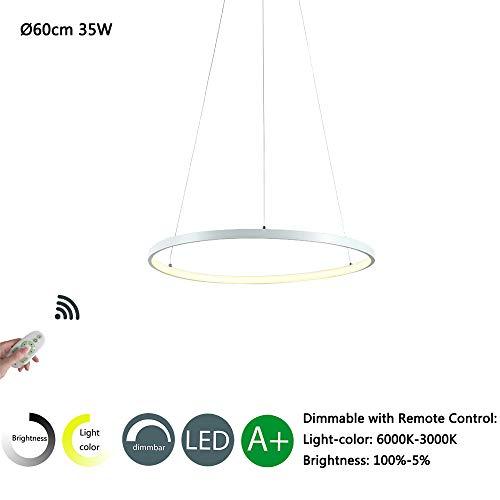 35W LED Pendelleuchte - Moderne Runde Design - Kronleuchter - Wohnzimmer Esszimmer Schlafzimmer Küche Büro Beleuchtung - Aluminium und Acryl - 1 Ringe Hängeleuchte Leuchte - (60cm-Dimmbar-Weiß) -