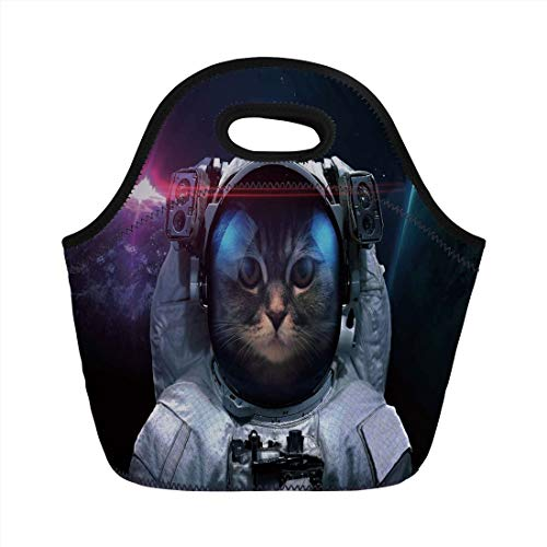 Jieaiuoo Portable Lunch Bag,Space Cat,Cosmonaut Kitty in Galaxy Cosmos Nebula Stars with Eclipse Image,Dark Blue Black and White,for Kids Adult Thermal Insulated Tote Bags