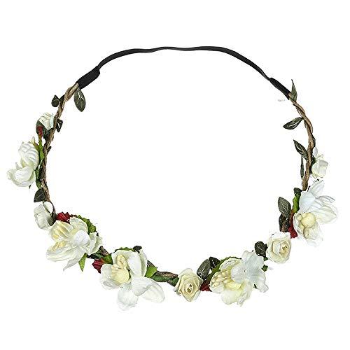 Dorical Stirnband Blumen, 1 Stück Stirnbänder Krone Haarband Kopfband Blume Haarbänder mit Elastischem Band für Hochzeit und Party Haarbänder Band für Frauen Mädchen Mehrfarbig Blume(Beige) (Weiße Und Gelbe Baby-stirnband)