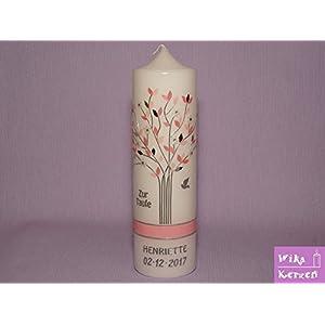 Taufkerze Kommunionkerze Lebensbaum Rosa Mädchen mit Name und Datum 25x7cm Taufe Kerze