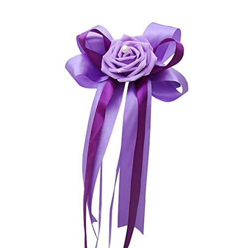 Hochzeit Autoschmuck Rose Schleifen Hochzeitsauto Dekoration für Rückspiegel Türgriff (Lila) ()