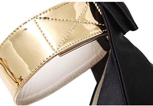 Groß Bogen Farbübereinstimmung High Heel Plattform Stilett Peep Toe Einzelschuhe Black