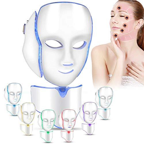 7 Farben LED Maske Lichtbehandlung, Kollagen Straffung Gesichtspflege Anti-Falten Anti-Akne LED Maske mit Hals