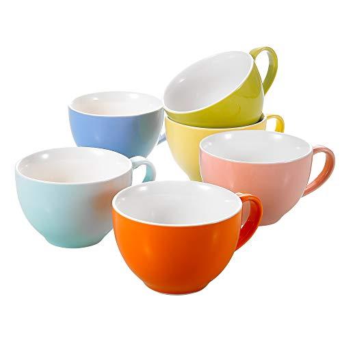 Panbado, 6er Set Porzellan Tassen, 375 ml Kaffeetasse, Becherset, Kaffeebecher, Frühstück Mug, Teetasse in 6 Farben