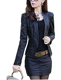 chaqueta PU cuero mujer con manga larga slim Moto Cazadoras Biker Chaquetas