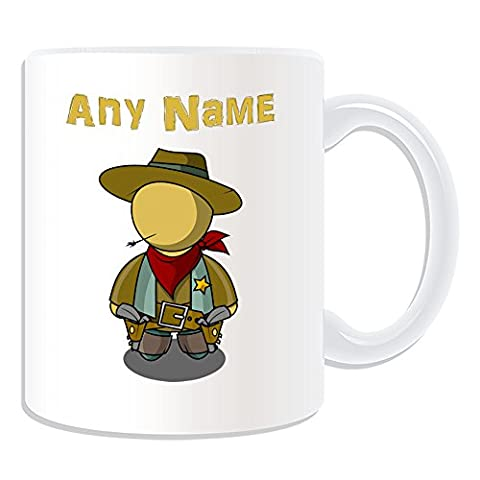 Personalised Gift - Cool Cowboy Mug (Fairy Tale Design Theme, White) - Any Name / Message on Your Unique - Straw