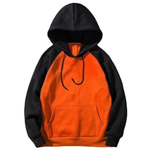CuteRose Men with Hood Casual Raglan Big Pockets Hit Color Sweatshirts Orange S Aeropostale Zip