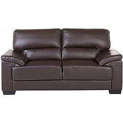 Sofá marrón - Canapé de piel - 2 plazas - VOGAR