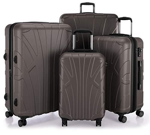 SUITLINE 4er Set Hartschalen Erweiterbar (S, M, L & XL), TSA, Koffer, 85 cm, 384 Liter, Titan