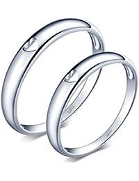 Infinite U elegante Hollow Corazón Plata de ley 925par/amantes normal de banda anillo Juego de Anillos de regalo de boda promesa de compromiso aniversario, tamaño de anillo j-v