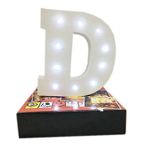 Dekorative leuchtende Buchstaben,KINGCOO Lampe batteriebetrieben hölzerne Alphabet uchstaben Zeichen Lichter,Party Hochzeit Dekorationen,Dein Name in Lichter - weiß (D)