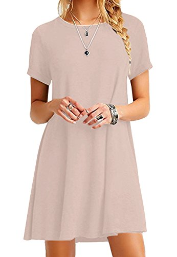OMZIN Frauen Casual Rundhalsausschnitt Kurzarm Casual Lose T-shirt Kleid Tunika Top Khaki M (Kleid Tunika Top T-shirt)