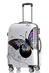 BEIBYE Reisekoffer Hartschalen Hardcase Trolley Zahlenschloss Polycarbonat Set-XL-L-M- Beutycase (Butterfly, L)
