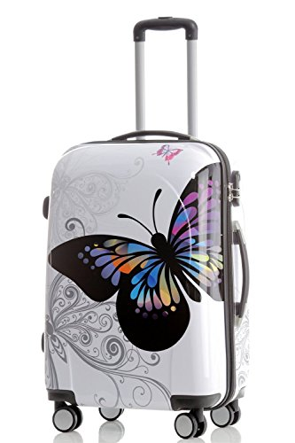 Reisekoffer 2060 Hartschalen Trolley Kofferset in 12 Motiven SET--XL-L--M-- Beutycase (Butterfly, L)