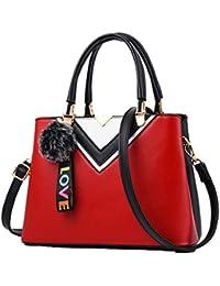 13b9e4d112e17 Boern Damen Leder Handtasche Mode Kontrastfarbe Handtaschen Office Party  Umhängetasche…