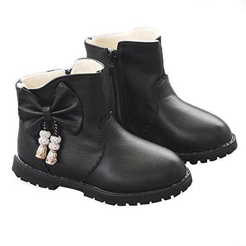 DRAULIC Modische Bow Girl Kinder Reißverschluss kinder Baumwolle Schuhe PU Warme Waden Stiefel Schuhe Für Herbst Und Winter