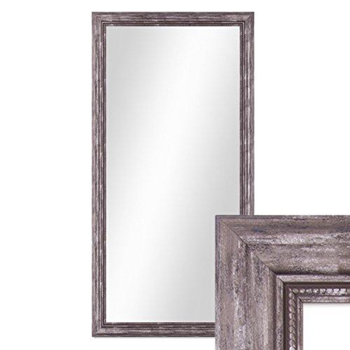 PHOTOLINI Wand-Spiegel 60x110 cm im Massivholz-Rahmen Barock-Stil Antik Silber/Spiegelfläche 50x100 cm