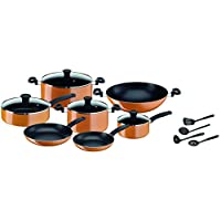 Tefal B168A574 Prima 15-Piece Cooking Set of Pots and Pans, Non-stick Coating, Dishwasher Safe - Orange/Black
