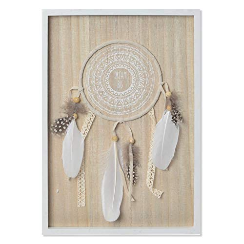 Hogar y Mas Atrapasueños con Plumas y Diseño de Mandala para Decoración de Pared. Étnico/Original 24X34X2 cm