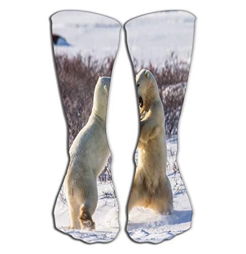 CVDGSAD Outdoor-Sport Männer Frauen Hohe Socken Strumpf Zwei Eisbären, die sich gegenseitig spielen Tundra Kanada Ausgezeichnet