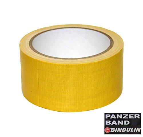 10 Meter Panzerband Farbe gelb - Gewebeband Gafferband besonders fest, ideal für Bühnentechnik Haus Werkstatt Outdoor Garten Zelt Planen Poncho Eventboden - Klebeband 50mm x 10Meter Yellow