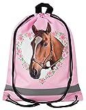 Aminata Kids - Kinder-Turnbeutel für Mädchen mit Sache-n Mädchen Haus-Tier-e Pferd-e Sport-Tasche-n Gym-Bag Sport-Beutel-Tasche hell-rosa braun Weiss Einhorn