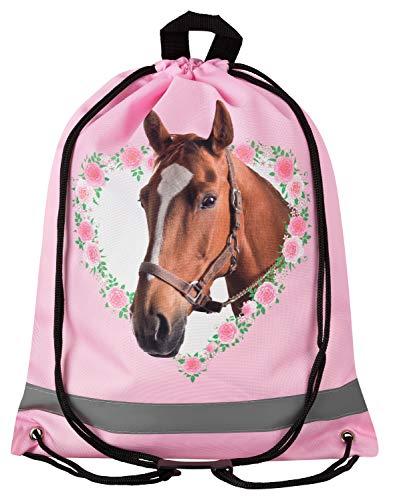 (Aminata Kids - Kinder-Turnbeutel für Mädchen mit Sache-n Mädchen Haus-Tier-e Pferd-e Sport-Tasche-n Gym-Bag Sport-Beutel-Tasche hell-rosa braun Weiss Einhorn)