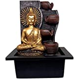 Ethnic Karigari Home Decor Polyresin Meditating Lord Gautam Buddha Step Indoor Table Top Water Fountain Showpiece for Interior Decor of Entrance with LED Light for Home Decor and Motor Pump, 28 cm
