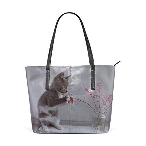 BJKDV Damenhandtaschen Laptop Tote Bag Cats Playing By Vases Large Printed Shoulder Bags Handbag Pu Leather Top Handle Satchel Purse Lightweight Work Tote Bag For Women Girls handbag -