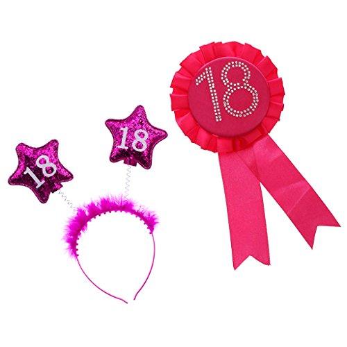Sharplace Glitter Geburtstag Rosette Abzeichen Brosche Award-Band + Rosa Haarreif zum 18. Geburtstag mit Künstliche Feder und Sternen Dekor für Mädchen Geburtstags Party Geburtstag Party Kostüm