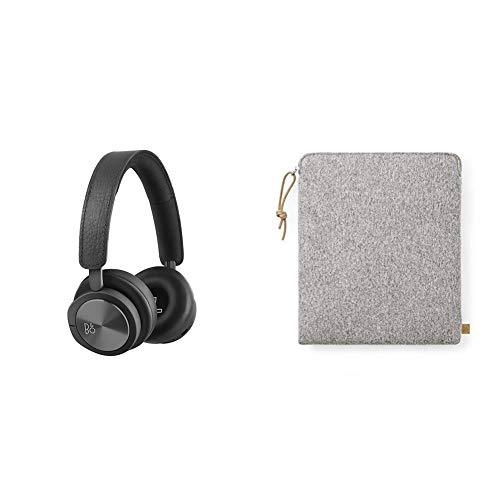B&O PLAY 1108729  Kopfhörerbeutel aus Stoff Grau + H8i Bluetooth On-Ear Kopfhörer (drahtloser, Active Noise Cancellation, Transparenz-Modus und Mikrofon) schwarz thumbnail
