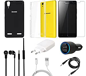 NIROSHA Tempered Glass Screen Guard Cover Charger Car Charger Headphone / Hands Free for Lenovo A6000 - Combo