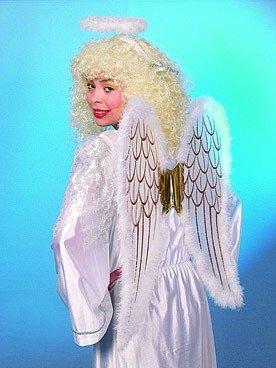 Engel-Set: Flügel, Heiligenschein, weiß-gold mit Maraboubesatz