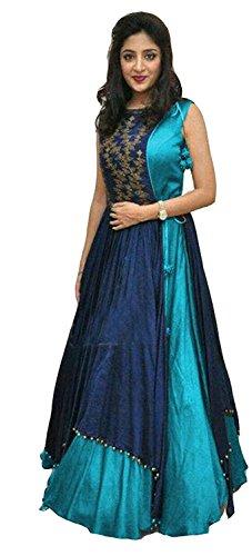 Mira Creation Women'sTaffeta SilkFirozi & BlueEmbroidery Salwar Suit(Size : Free)