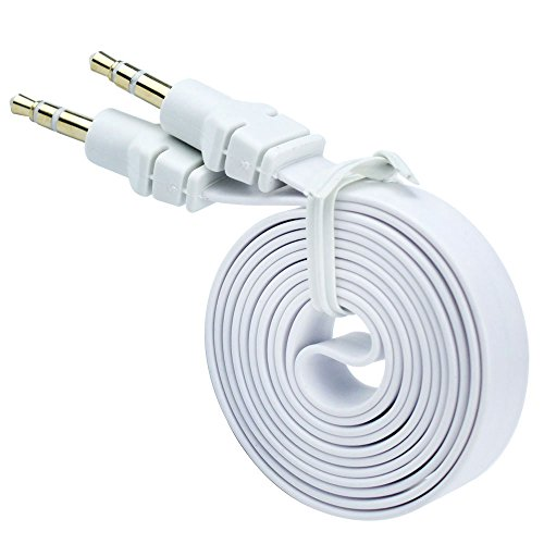 niceeshop(TM) PVC Nudel Form 3,5mm Male to 3,5mm Male Stereo Audio Hilfs Aux Kabel (Weiß, 1m)