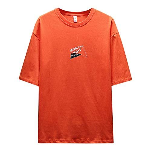 Crazboy Herren Sommer modische einfarbige Hemden Kurzarm komfortable Bluse(Medium,Orange-D) -
