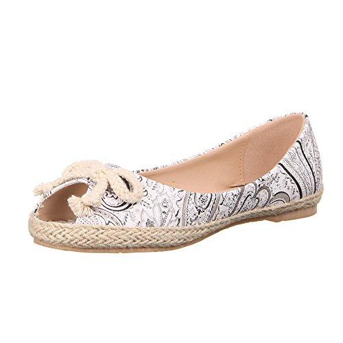 Damen Schuhe, 50377, LUFTIGE SLIPPER MEHRFARBIGE BALLERINAS Schwarz Multi