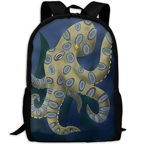 Blue Ring Octopus Unisex Adult Custom Rucksack,School Leisure Sports Book Bags,Durable Oxford Outdoor College Laptop Computer Shoulder Bags,Lightweight Travel Tagesrucksäcke