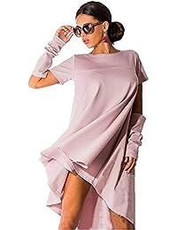 JOTHIN Damen Rundhalsausschnitt Kurz Ärmel Kleid Unregelmäßige Kurze Kleider  mit 2 Kurzen Manschette-Muster-Form… 18b1cecd87