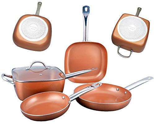 Bioexcel Copper Bratpfannen-Set mit Edelstahlgriffen - 5 Stück - Inklusive Round Fry Pan, Vierkanttopf mit Glasdeckel - Induktion Nonstick Kochgeschirr Bratpfanne Set - Spülmaschinenfest - Fry Pan Set