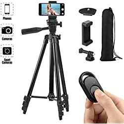 Hitchy Trepied Smartphone, Trepied Iphone 51 inch 130cm Aluminium Léger, Trepied Appareil Photo pour Smartphone/GoPro/Camera avec Télécommande Bluetooth, Porte-téléphone et Adaptateur GoPro (Noir)